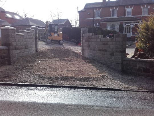 Building work: Stone walling at Barlaston, Staffordshire