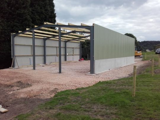 Groundwork: Steel frame building at Cheddleton, Staffordshire